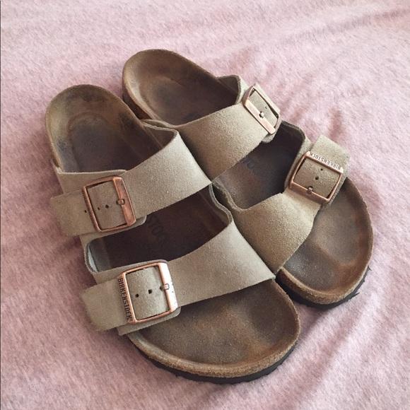e5f9108a5fc Birkenstock Shoes - Arizona Soft Footbed Taupe Suede Birkenstocks